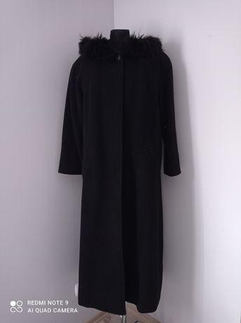 Czarny płaszcz damski z kapturem z futrem kaszmir i wełna rozmiar S M