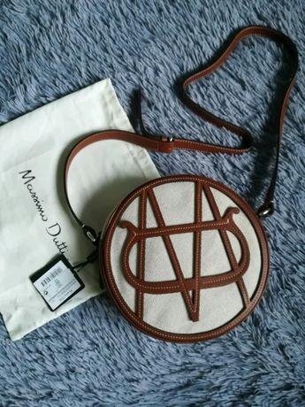 Skórzana torebka Massimo Dutti z monogramem