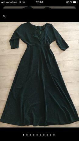 Шикарное длинное платье -Люрекс