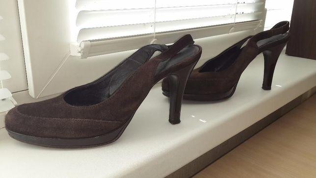 Туфли/босоножки коричневые George сollection, лак+замш, 39 р.