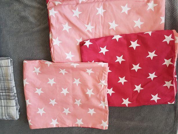 Pościel w gwiazdki różowa pastelowa satynowa bawełna 200x200  Ubrana 1