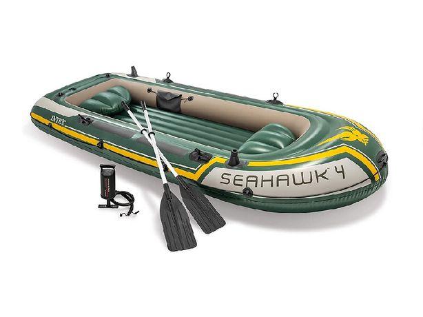 Лодка Байдарка Каяк четырехместная надувная Intex Seahawk 4 Boat Set