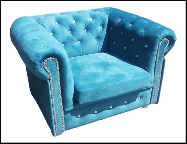 Piękny i elegancki Fotel CHESTERFIELD BIS PLUS SWAROWSKI. Okazja