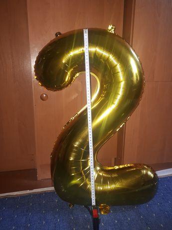 Воздушный шар Цифра 2, золото, высота 60 см