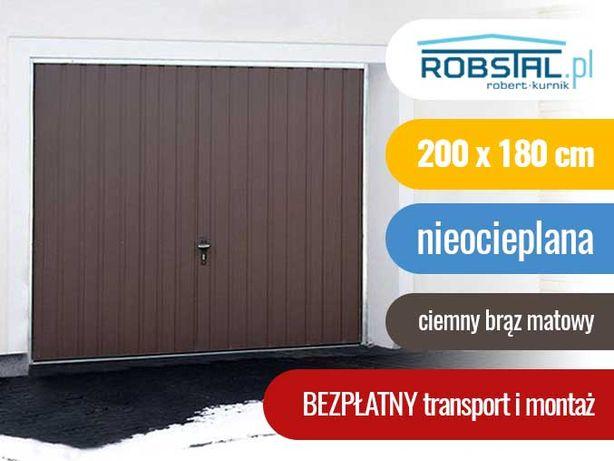 Brama garażowa uchylna 200x180 ciemny brąz bramy do muru MONTAŻ GRATIS