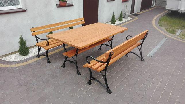 Meble ogrodowe biesiadne stół 2 ławki XL żeliwne kolor do wyboru