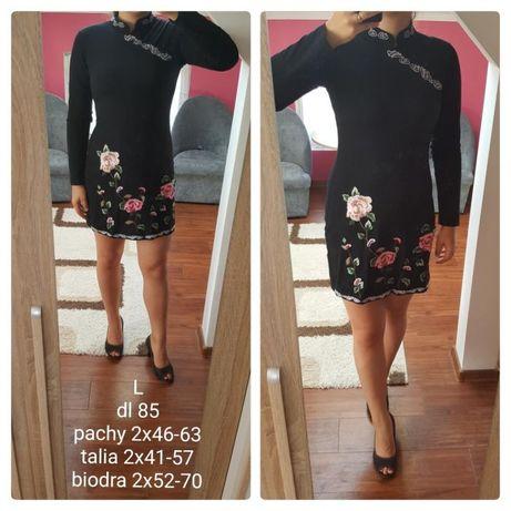 Czarna sukienka z haftem haftowane kwiaty