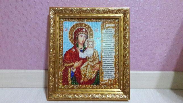 """Икона """"Смоленская Божья Матерь"""" с молитвой о детях. Бисер."""