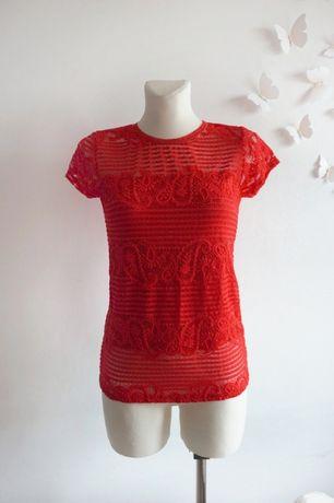 Ażurowa koronkowa czerwona bluzka S