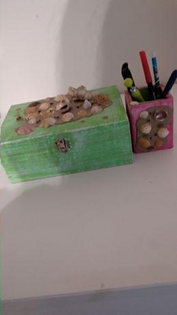Conjunto caixa e suporte canetas