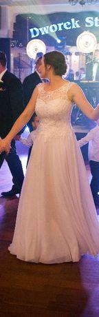 Suknia ślubna, koronka i muślin, rozmiar 38