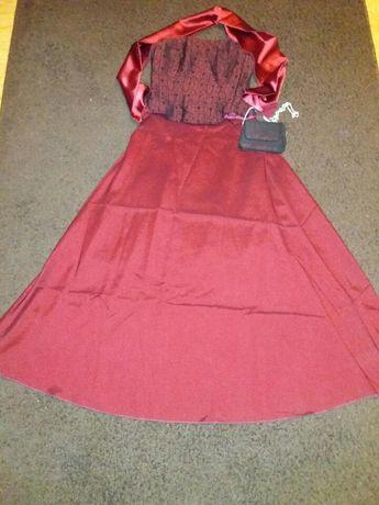 Sukienka bordowa + torba i szal GRATIS studniówka wesele sylwester