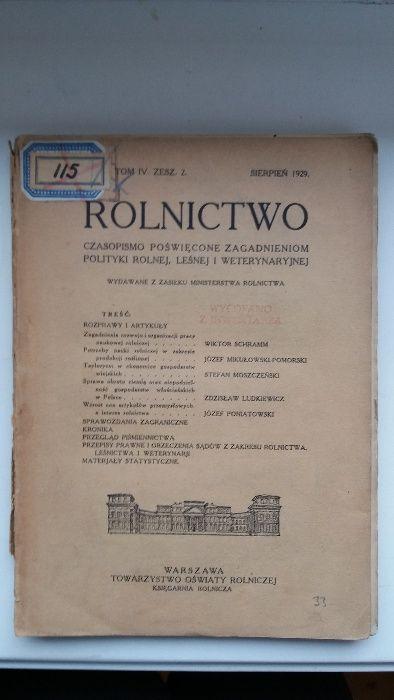 Czasopismo Rolnictwo z 1929 r. i 1936 r. Kraków - image 1