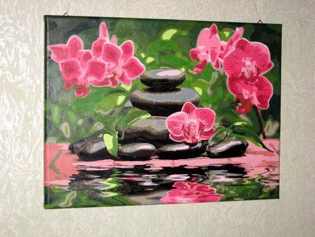 картина по номерам 30*40 орхидеи акриловые краски подарок новый год