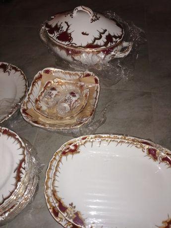 Serwis obiadowo- kawowy porcelana Ćmielów : ROCOCO Purpura , ręcznie
