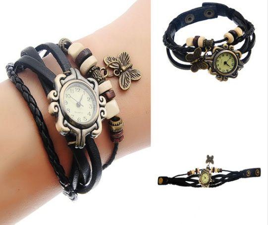 NOWY piękny zegarek-bransoletka w kolorze czarnym lub białym