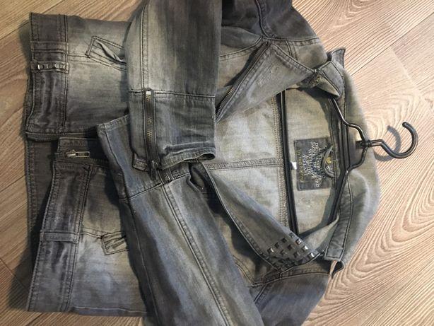 Джинсовая короткая куртка косуха