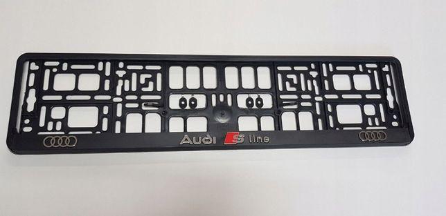 Рамка номерного знака на Audi S-LINE 3D Номерная рамка на Ауди