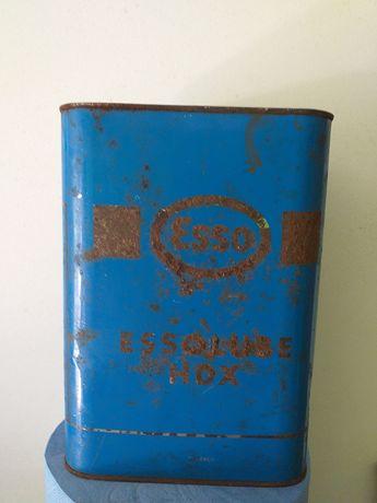 2 latas de óleo antigas Esso e shell