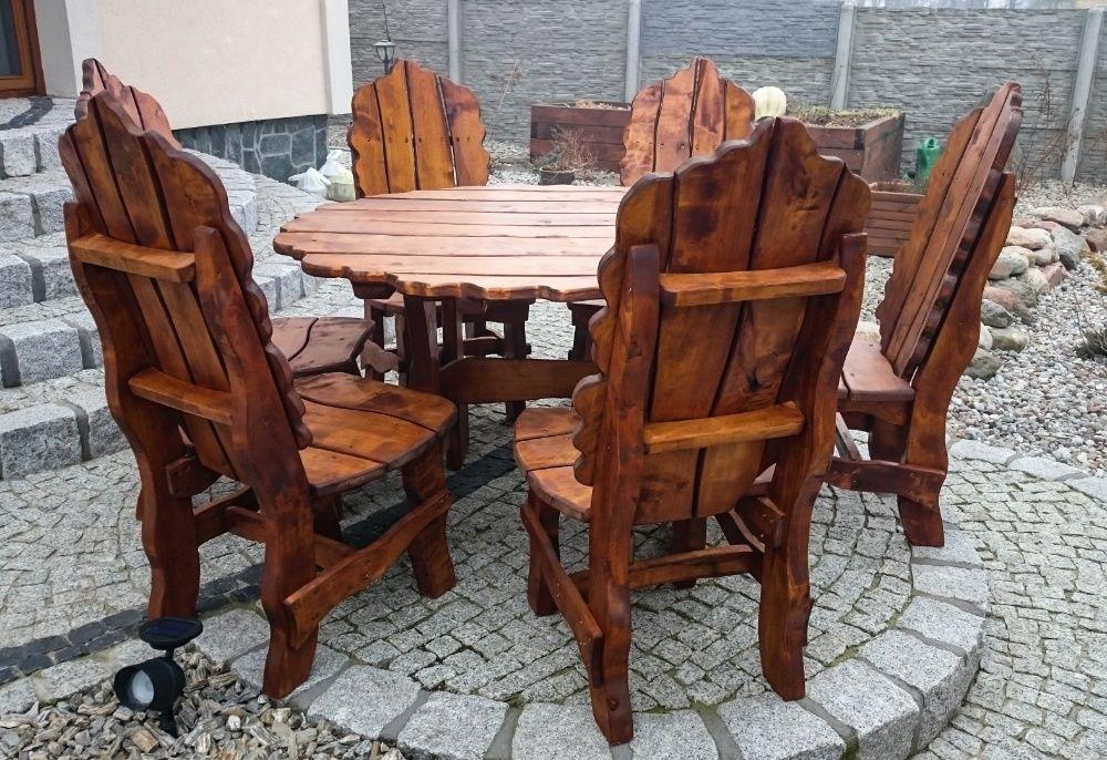 Stylowy komplet ogrodowy LIŚĆ (6 kreseł + stół). Ośno Drugie - image 1