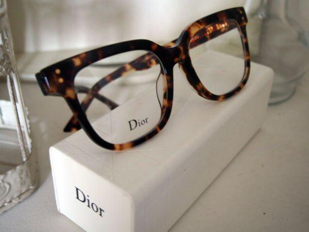 Dior brązowe okulary zerówki oprawki damskie panterka