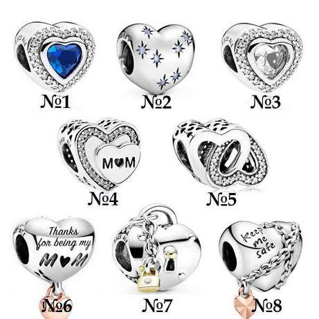 Серебряные шармы сердечки, подвески, Pandora.