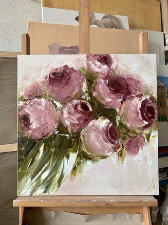Картина маслом пионы цветы подарок маме , бабушке