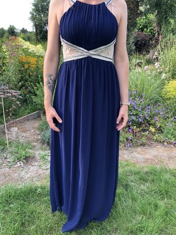 Sukienka suknia maxi Little Mistress 38 M granatowa wesele