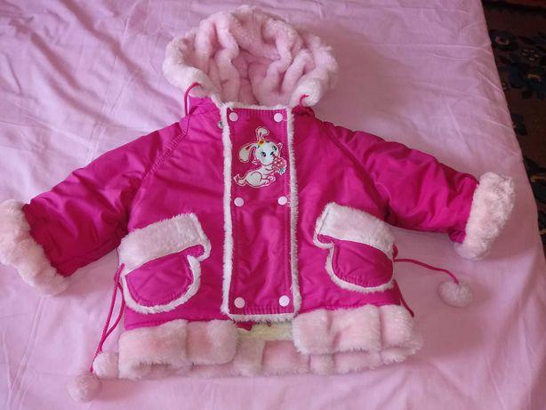Теплый зимний костюм куртка и комбинезон на девочку 98 104 размер