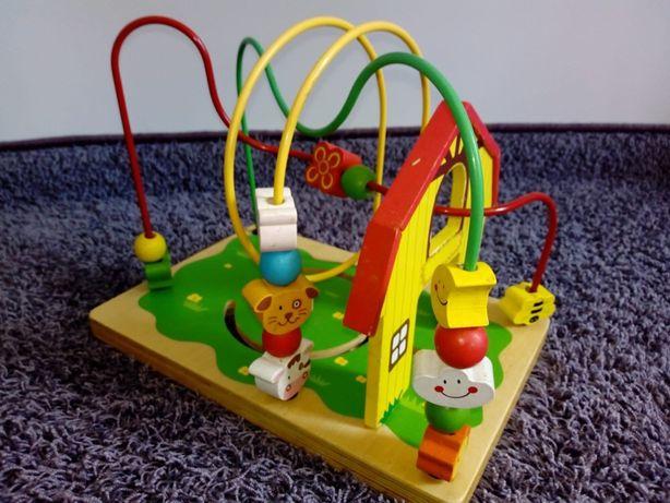 Zabawka drewniana edukacyjna domek klocki