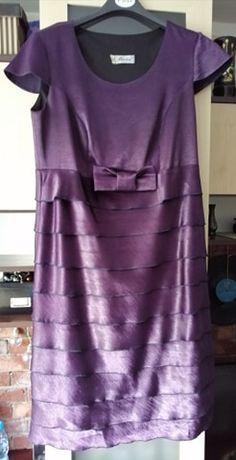 Fioletowa sukienka z żakietem