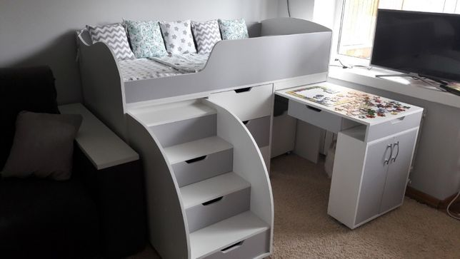 Детская кровать-чердак от производителя. Комод+выдвижной стол+кровать