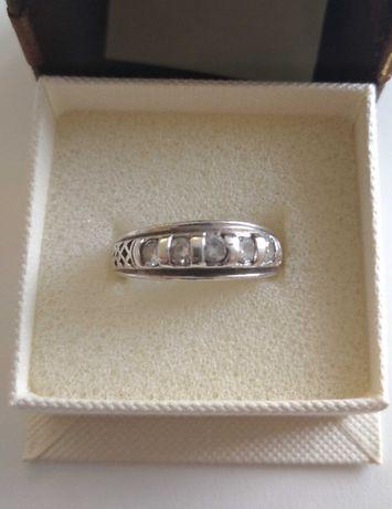 Srebrny pierścionek obrączka z cyrkoniami Apart