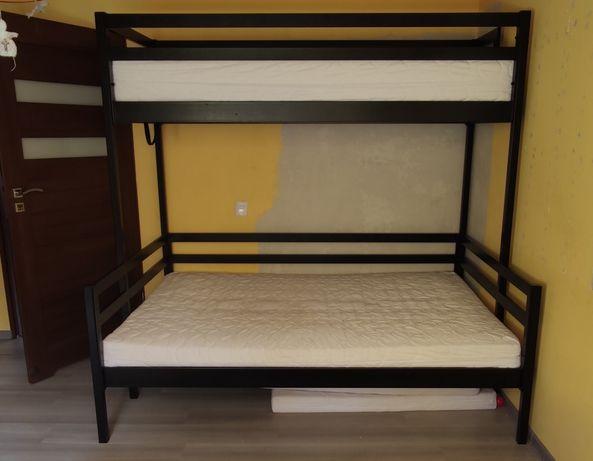 Łóżko piętrowe, duże, czarne 3 osobowe