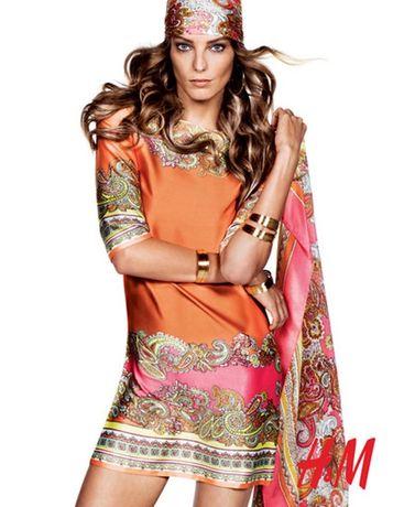 Платье яркое с поясом в стиле бохо h&m оранжевое размер S-M сатин