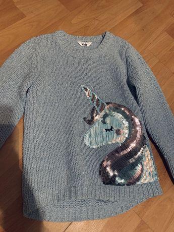 Красивый люрексовый свитер на 7-8 лет