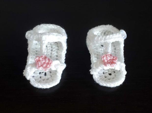 Sandałki buciki szydełkowe chrztu chrzest 9 cm 13 niechodki handmade