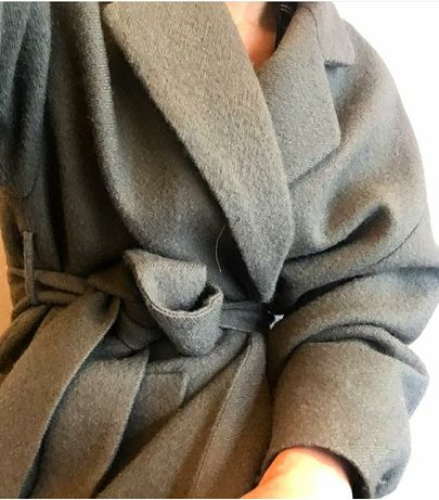 Zara blogerski wełniany płaszcz khaki L
