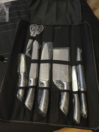 conjunto de facas com estojo profissional de cozinheiro inox