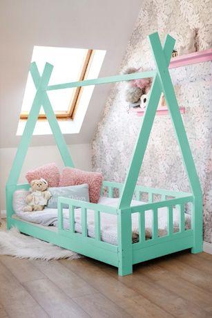 Łóżko domek skandynawski, dziecięce, TIPI/MILA z barierkami Kolor