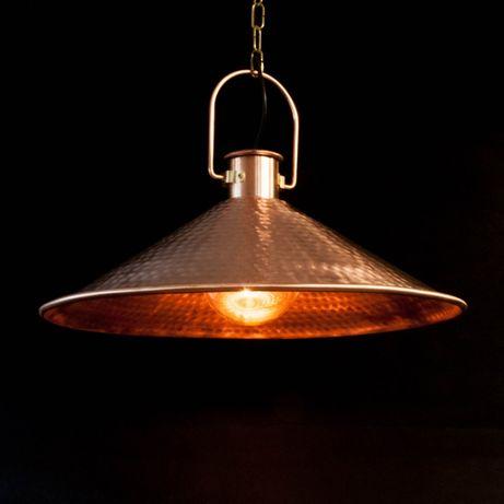 Lampa wisząca, miedziana, młotkowana fi 50 cm
