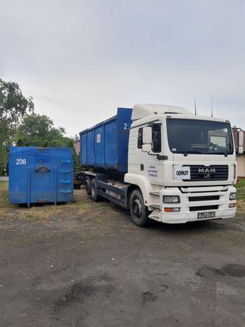 Transport kontenerów hakowych. Kontener hakowiec przyczepa usługi BDO