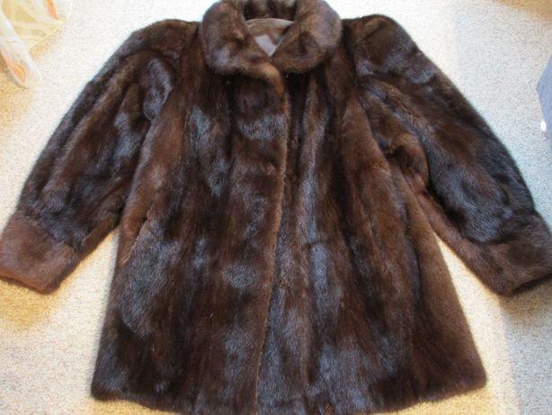 Полушубок коричневый, Норковая шуба, из натурального меха норка 52-54