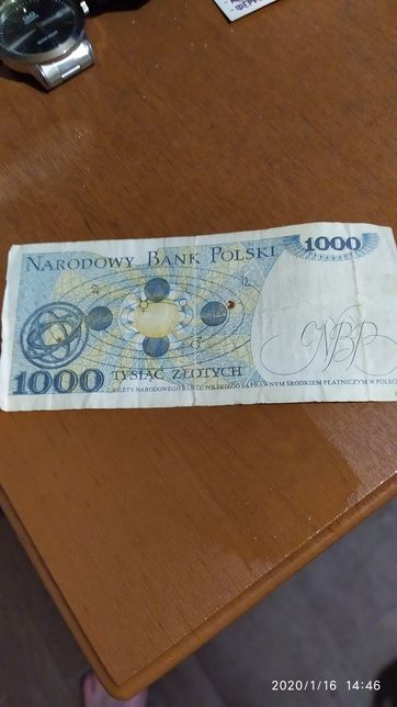 Купюра 1000 злотых 1982 год