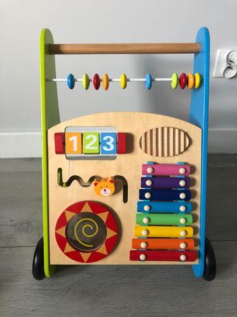 Drewniany pchacz edukacyjny chodzik dla dziecka