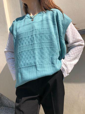 Kamizelka bawełniana turkusowa ażurkowa vintage oversize