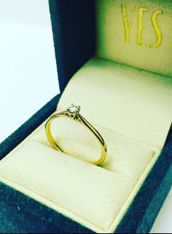 YES Pierścionek z Brylantem 0.05CT Złoty 585 Zaręczynowy z Diamentem