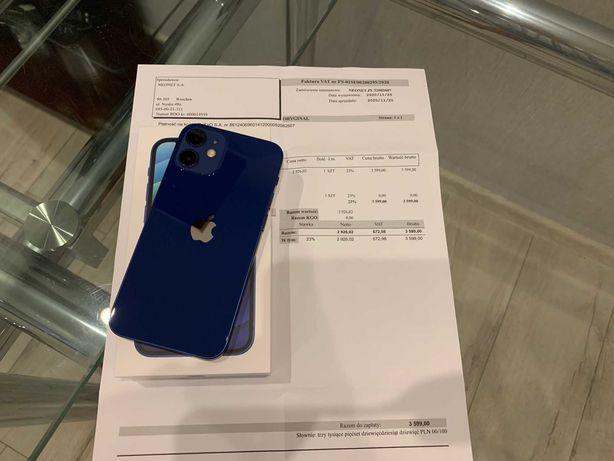 iPhone 12 Mini Blue, bateria 99%, gwarancja 17 miesięcy