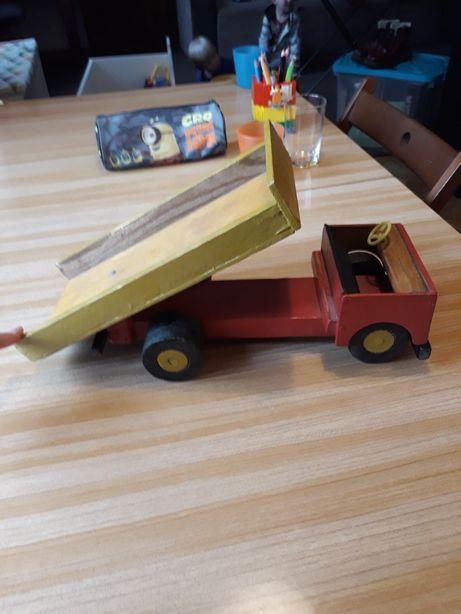 Unikat stara zabawka drewniana wywrotka ciężarówka duża vintage prl