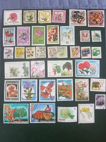 Lote de 37 selos - Tema flores